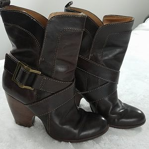Frye sz 7 'Andrea' mid-calf brown leather boots